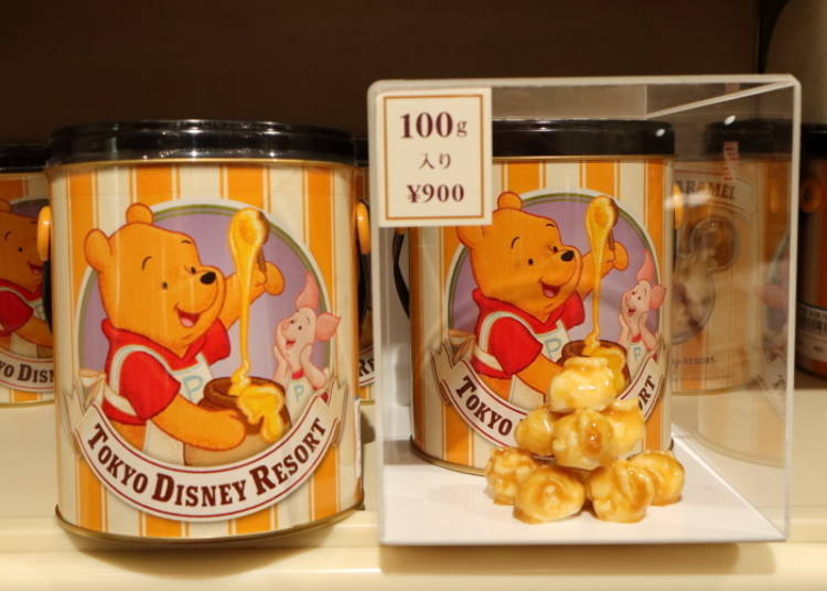 Popcorn: the Famous Park Popcorn, in Honey and Butter-Caramel Flavors! (900 Yen)