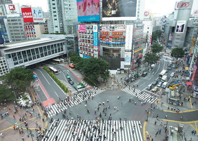 從高空俯瞰澀谷站前十字路口-CROSSING VIEW