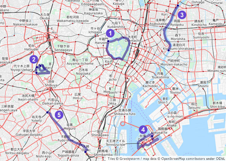 Route overviews