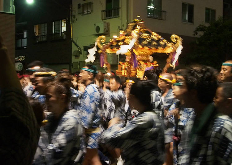 Carrying the mikoshi