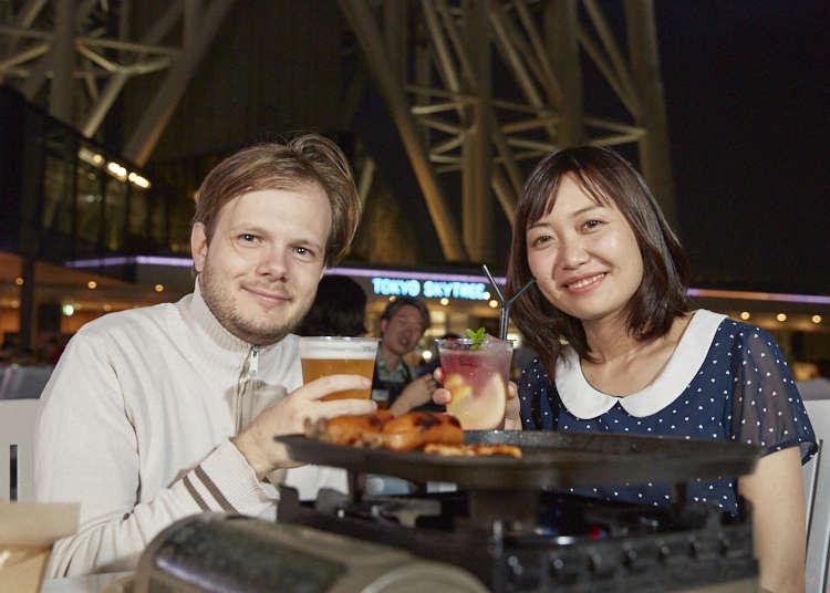 도쿄맛집 - 일본맥주에 매료된 프랑스인과 중국인이 다녀온 도쿄 스카이트리(R) 비어 가든!