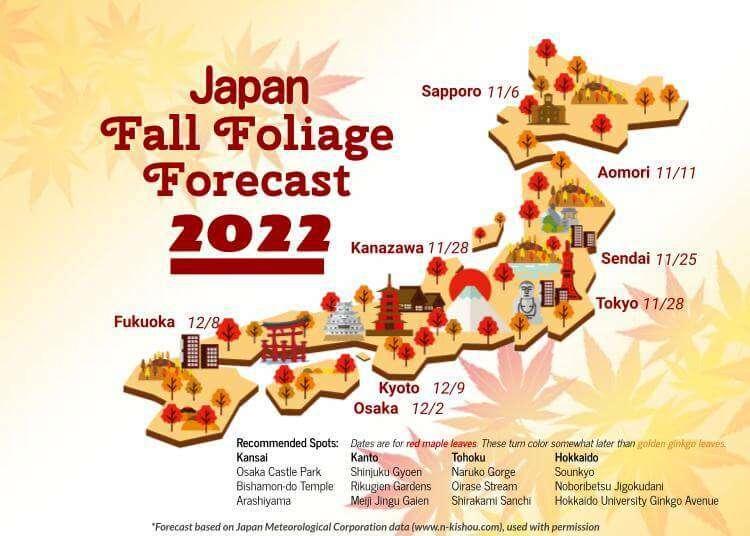 Japan's Autumn Leaf Calendar 2018