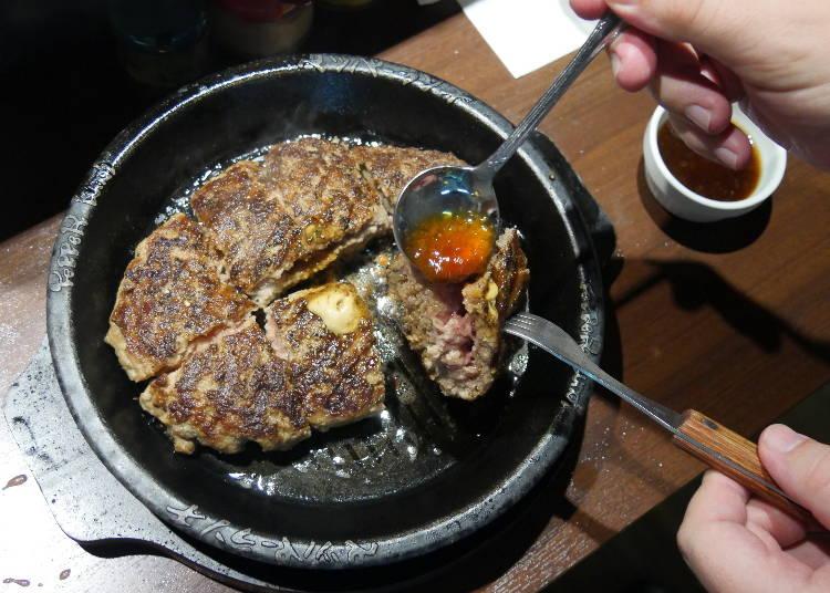 肉汁と肉のボリューム感、言うことなしの「100%ビーフ肉塊ハンバーグ」!
