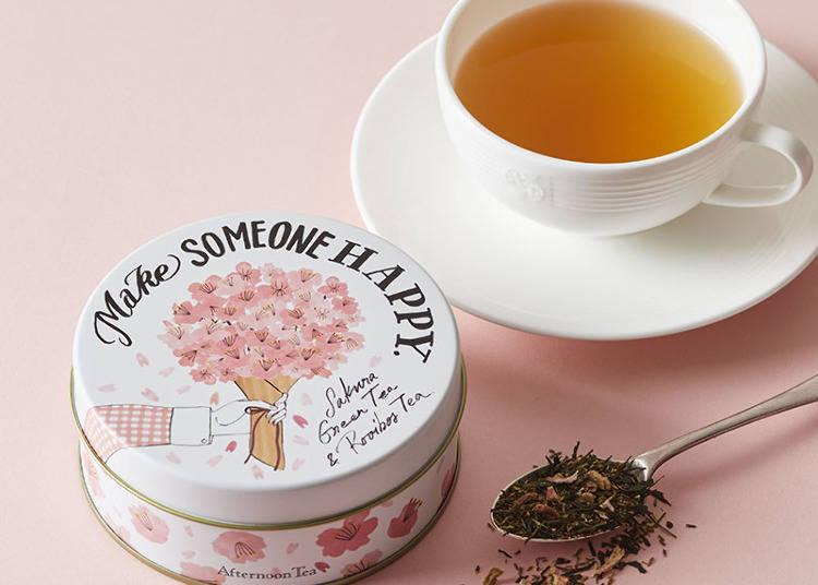 ■桜模様の缶もおしゃれな「桜グリーン&ルイボスティー」