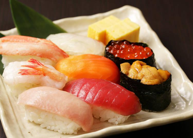 1. Sushi; seafood don (rice bowl)
