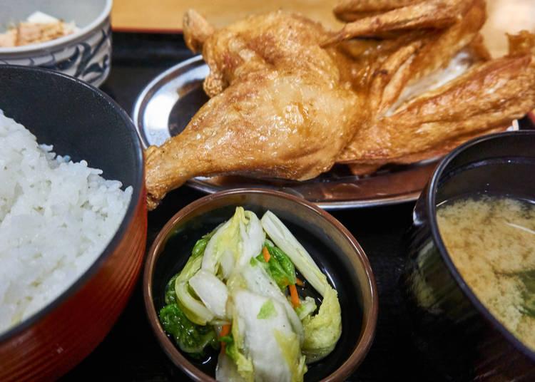 3. Wakadori hanshin age (Deep fried half-chicken)