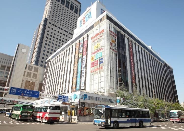 Closeup on Sapporo ESTA: Popular shopping center next to Sapporo Station