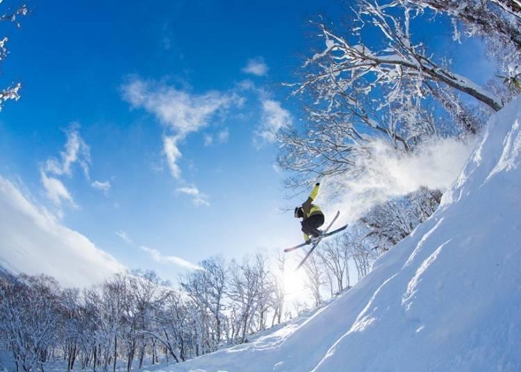 와일드하게 달릴 수 있는 천연 스키장