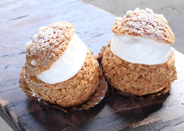 Lavender Crispy Cream Puff Filled with Whipped Cream Mixed with Crushed Lavender