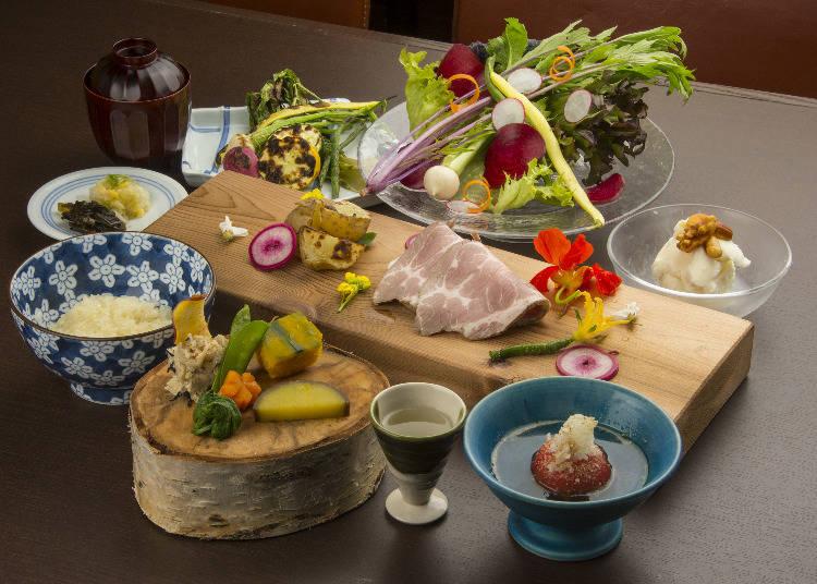 Fresh Ingredients Made into a Delicate Dish at Robata Niseko Naniwatei