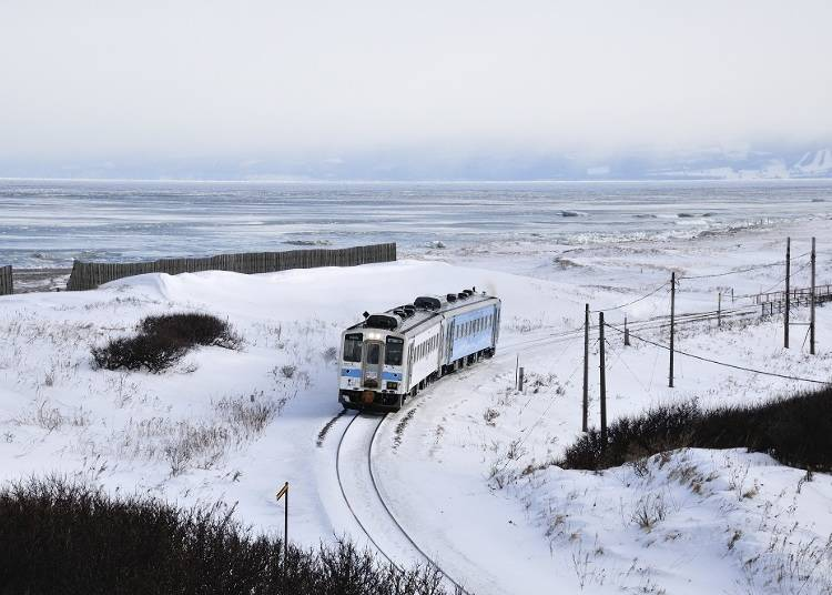 Winter edition! Drift ices in the Sea of Okhotsk, seasonal railway