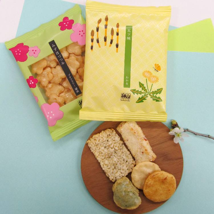 [For Sakura Petal holders]2-bag set present of spring-only Mizuhozutsumi arare crackers for customers making a purchase (5-flavor set featuring the fragrances of spring including 'sakura,' 'mugwort,' and 'plum blossom,' plus a cute mini flower set of soy sauce-flavor arare crackers)Gifts