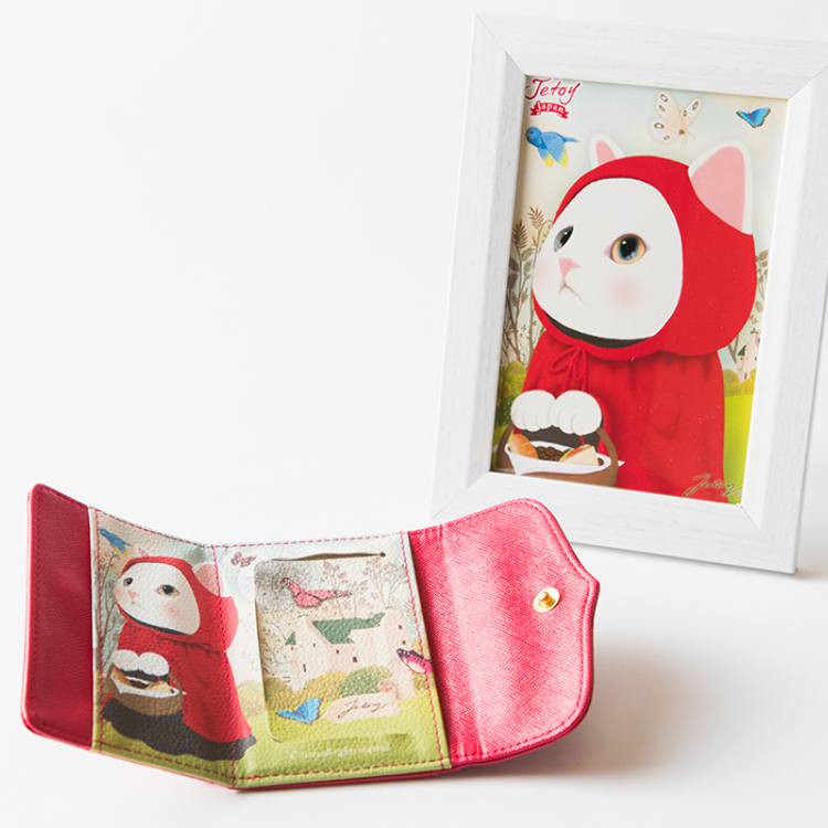 [With frame picture] pass case with a mirror of a cat