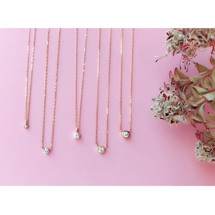 Room 403 popular one stone diamond necklaces