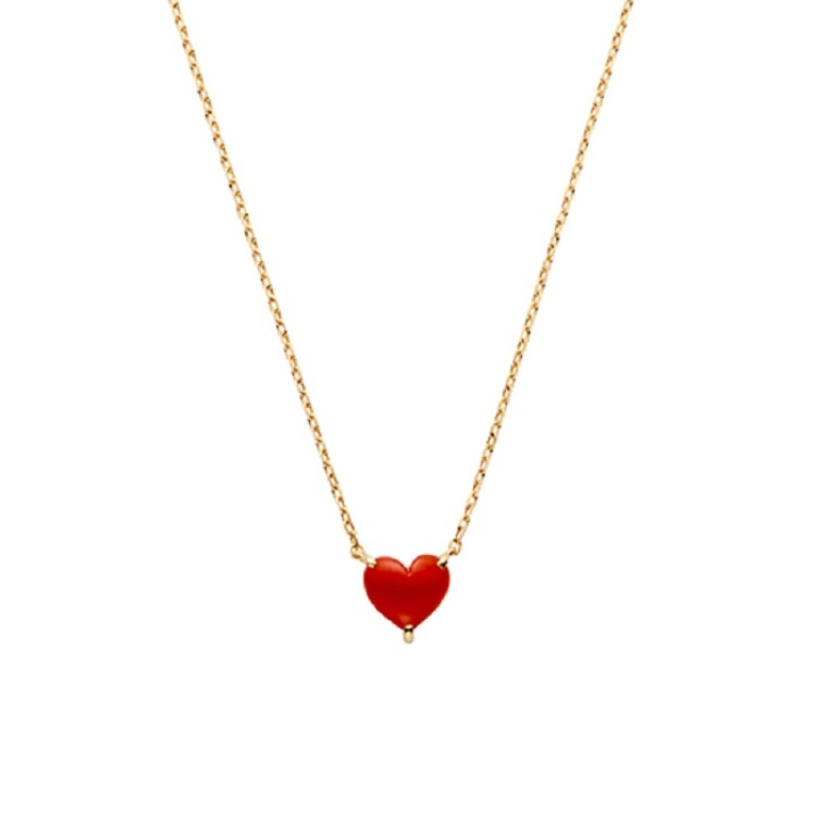 Necklace in 18k gold with coral
