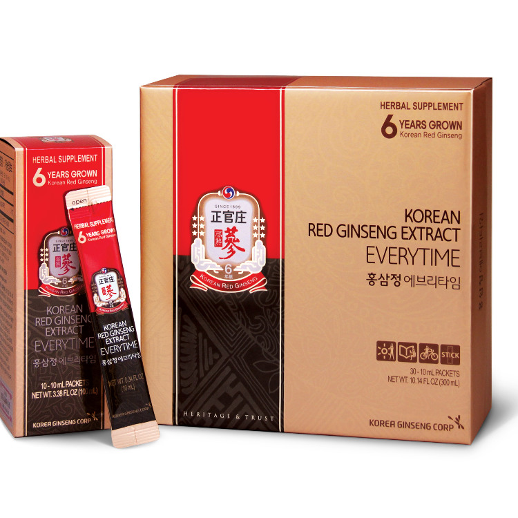 CheongKwanJang Made from 3g of Korean red ginseng extract in water, KRG Every Time is in a slender, convenient stick-shaped pouch,  perfect for mixing into water bottles or drinks on-the-go. Easy to carry, it is truly a ginseng product to take anytime.