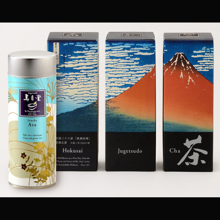 Asa, an organic whole-leaf sencha green tea in a box decorated with Hokusai's Fuji