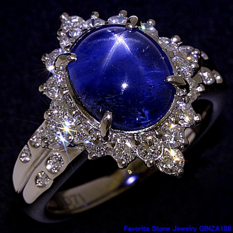 星彩藍寶石 4.97克拉 戒指