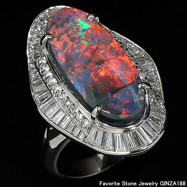 7.92 ct black opal ring