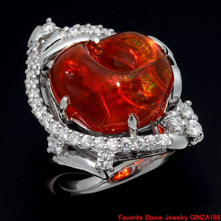8.45ct fire opal ring