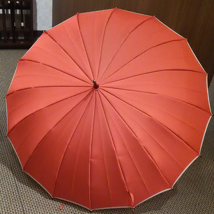 16-rib umbrella without a pattern on both faces, Koshu fabric, carbon fiber ribs, shading rate of 99% or more