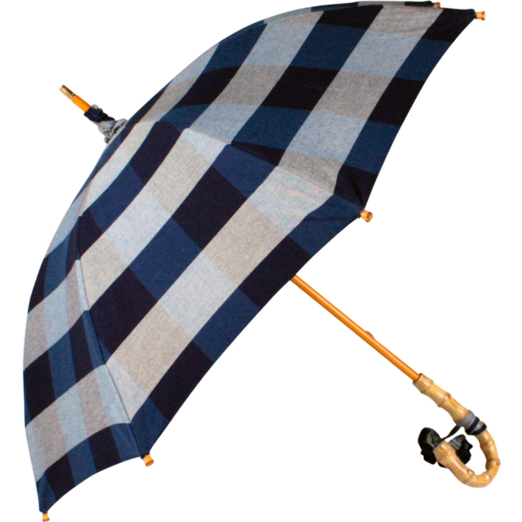 Rain or shine umbrella with long bamboo handle and indigo stripe design