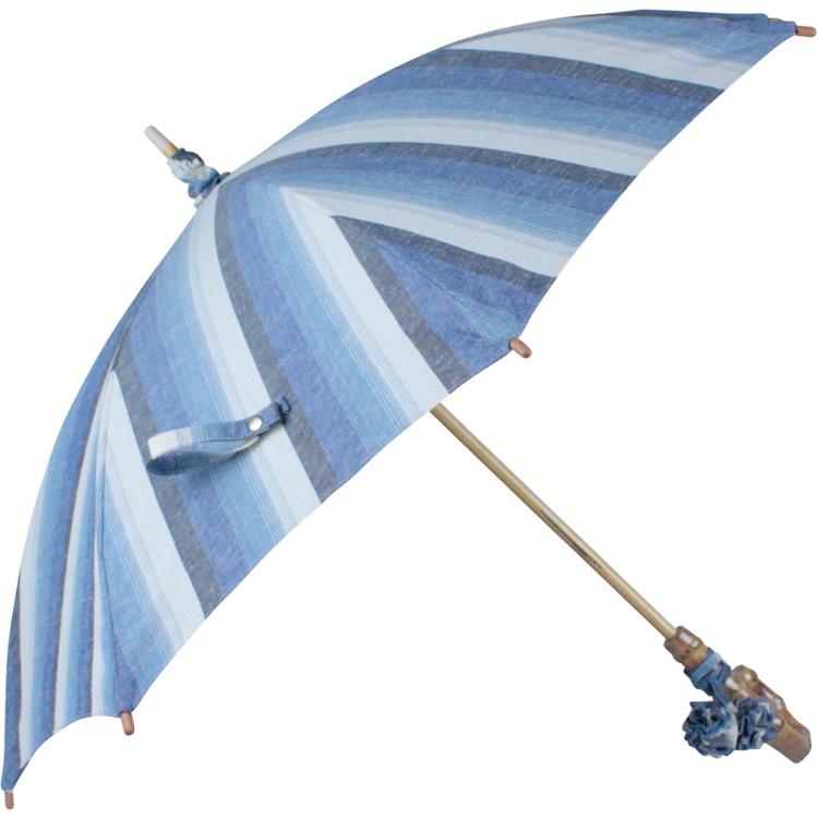 綿紬縞柄晴雨兼用長傘竹ハンドル