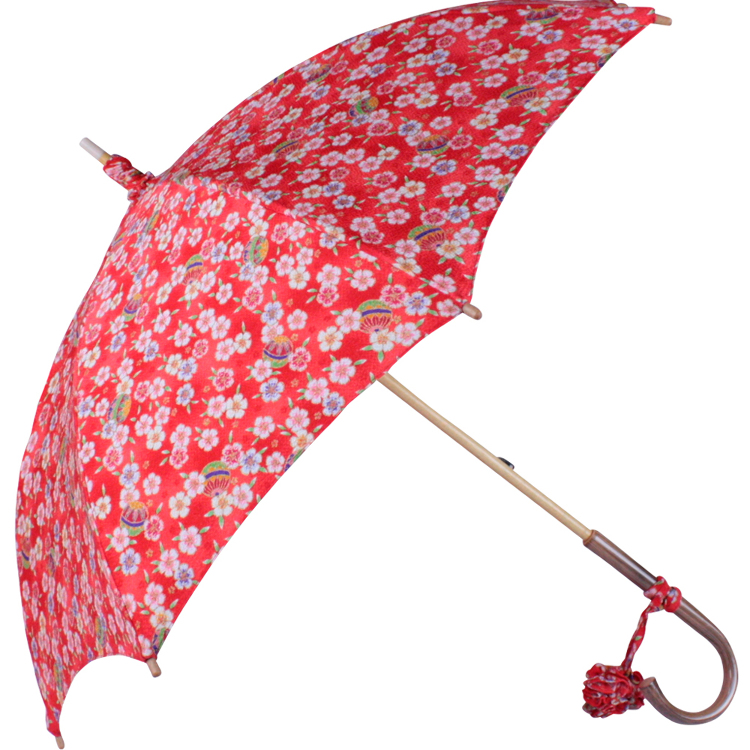 Kawazu-bari parasol with rayon kimono fabric, lace underside, and oak handle