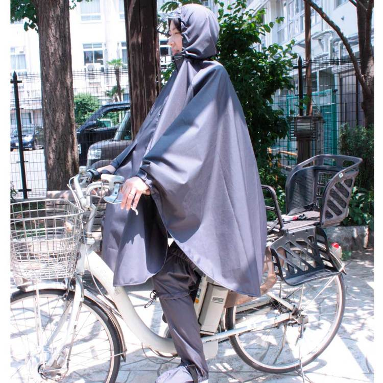 Plain polyester rain poncho with bike