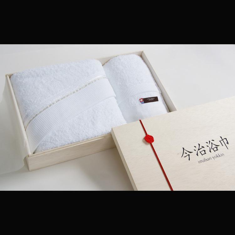 샤워용 수건과 핸드 타월 세트, 나무 상자 포장