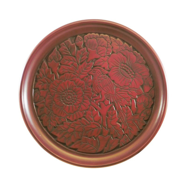 Kamakura-bori 24 cm round serving tray with flower and bird design