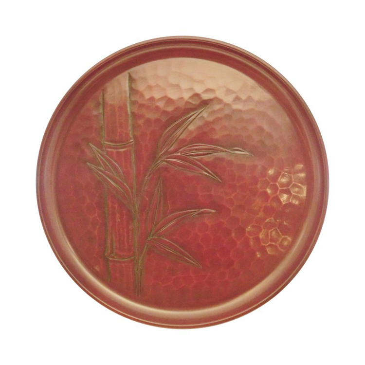 Kamakura-bori 27 cm round serving tray with bamboo design