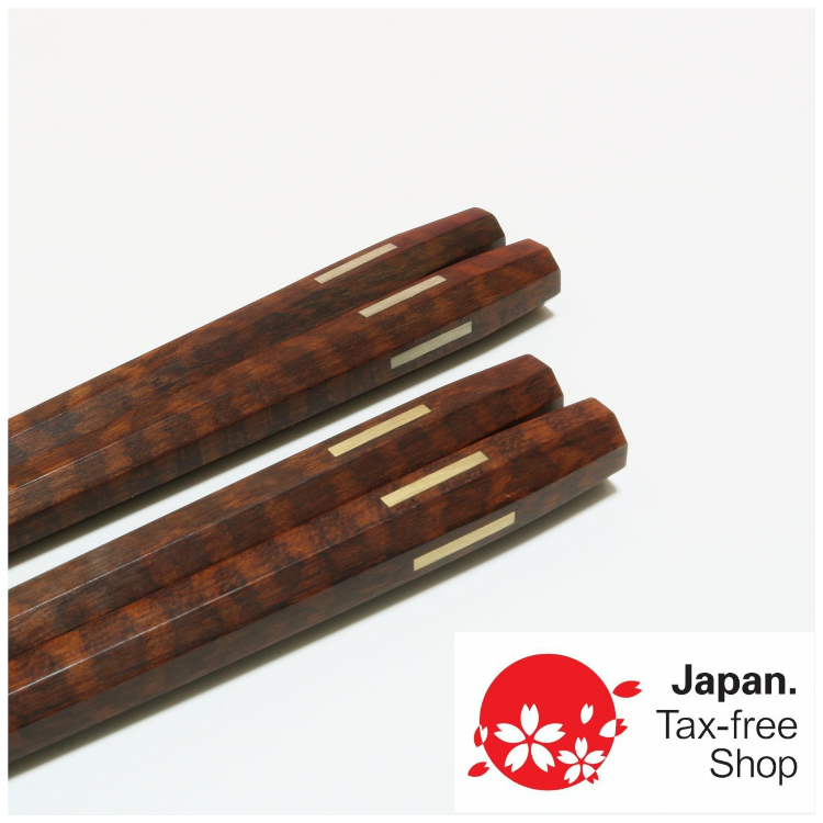 Husband and Wife Chopstick set (snakewood with gold and silver inlay)