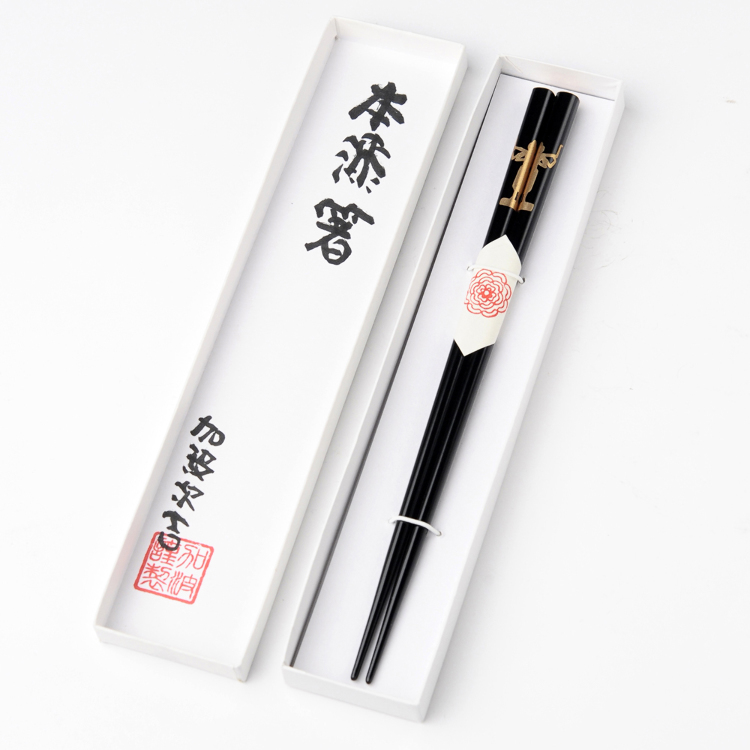 Asura Good Luck Chopsticks – gold on black with Wajima-nuri Japanese lacquer finish
