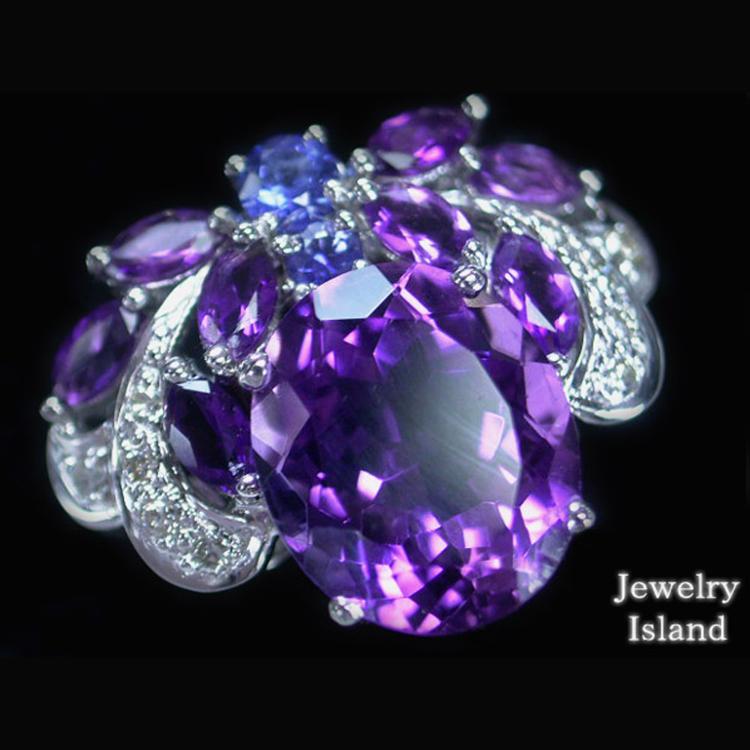 자수정 4.55캐럿 사파이어 다이아몬드 K18 WG 반지