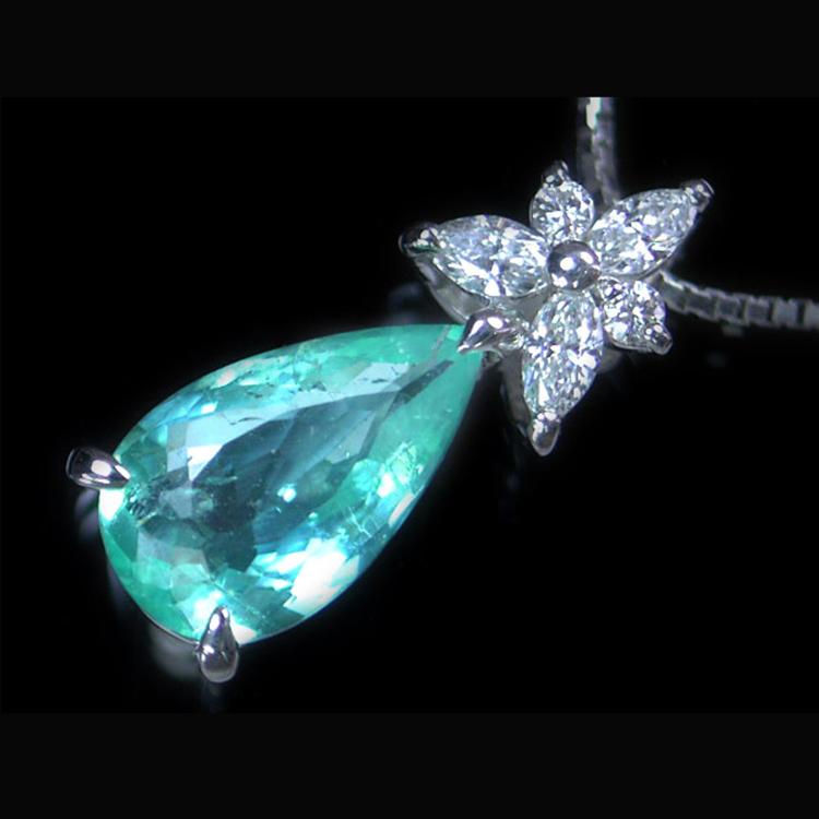 珍贵宝石帕拉伊巴 1.47克拉 钻石项链