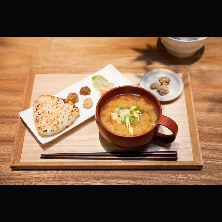 simple miso soup and grilled rice bowl set
