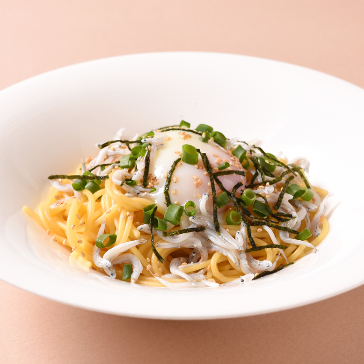 pasta with kettle fried whitebait and soft-boiled egg