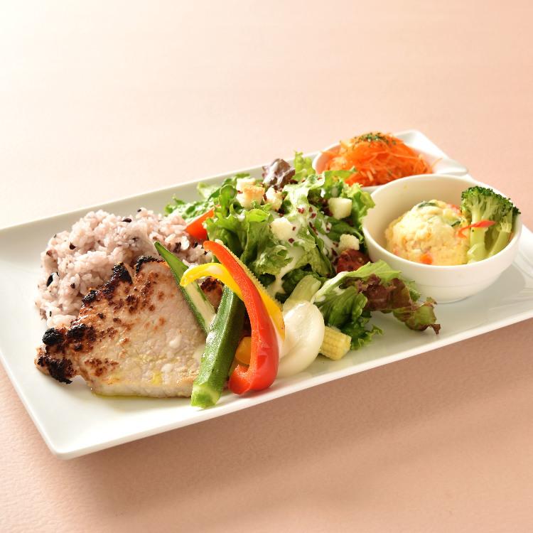 pork saute with salted rice malt and Caesar salad