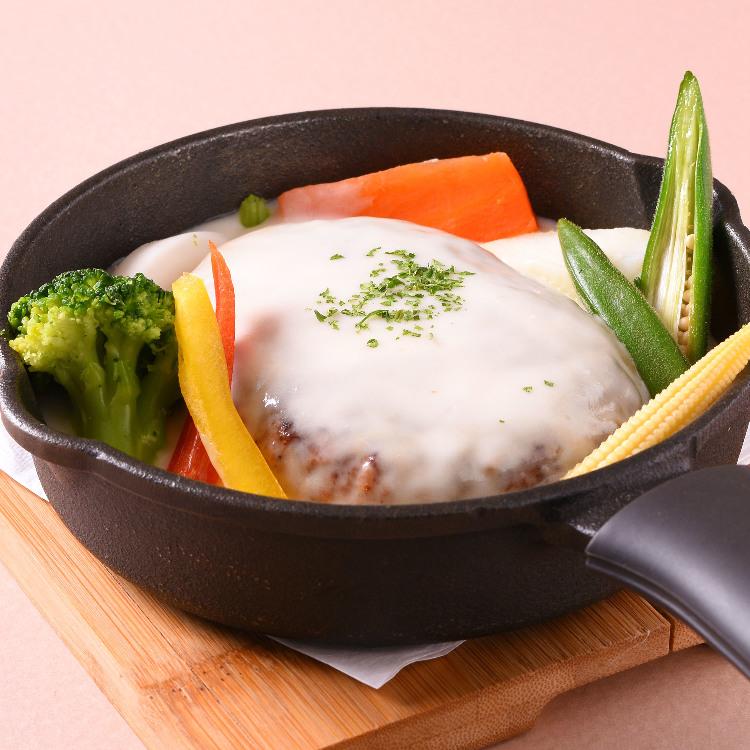 ハーブ三元豚の手ごねハンバーグ チーズフォンデュソース(パンor十五穀米)