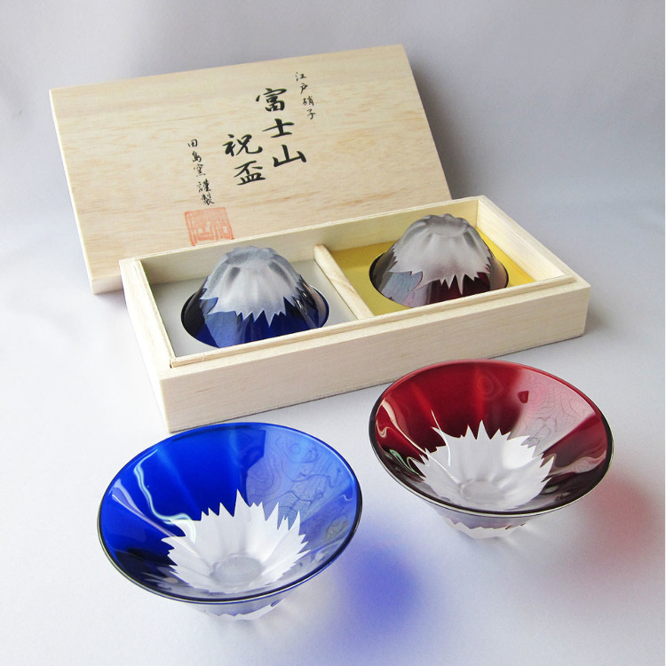 Edo Glass, Engraved Glass Fuji, Drinking Glass (Blue/Red Fuji Set)
