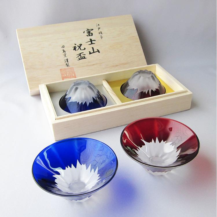 【人氣商品】江戶硝子 精緻富士山祝杯 (青・紅富士組)<br /> ☆可單買