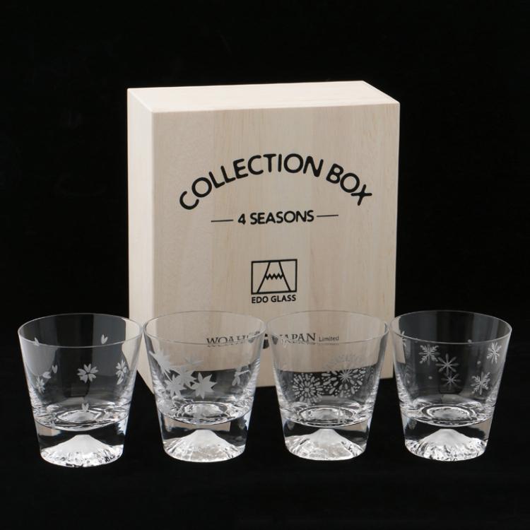 【本店限定商品】江戶硝子富士山玻璃杯(四季組/附特製木箱)