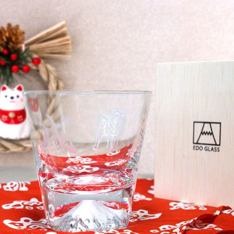 【數量限定】超人氣 江戶硝子富士山玻璃杯(生肖狗/附木箱)