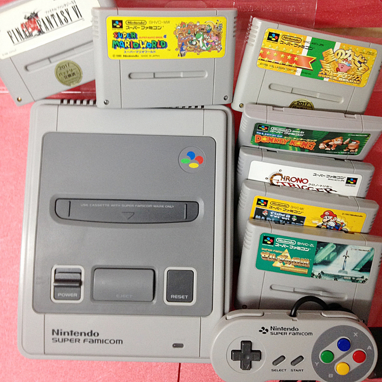 SNES console (AC adapter, AV cable, controler x1)