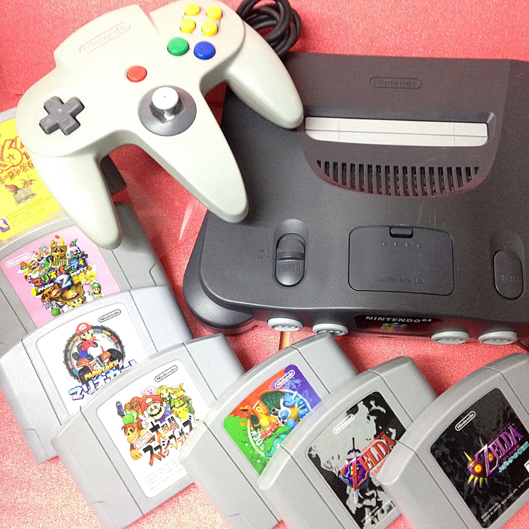 Nintendo 64 console   (AC adapter, AV cable, controler x1)