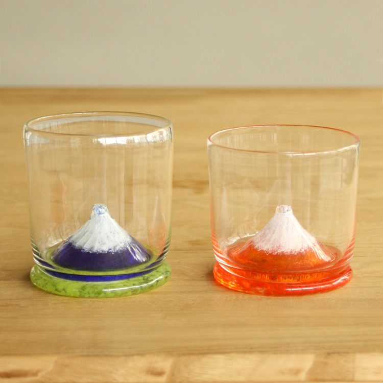 K. Ikushima  - A pair of Mt. Fuji tumblers ~ Hand-made<br /> Your own personal Mt. Fuji in the palm of your hand!