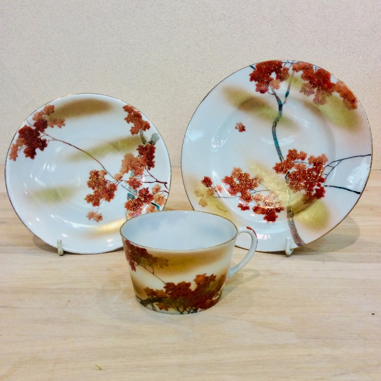 Cup and saucer painted of autumn leaves with cake plate