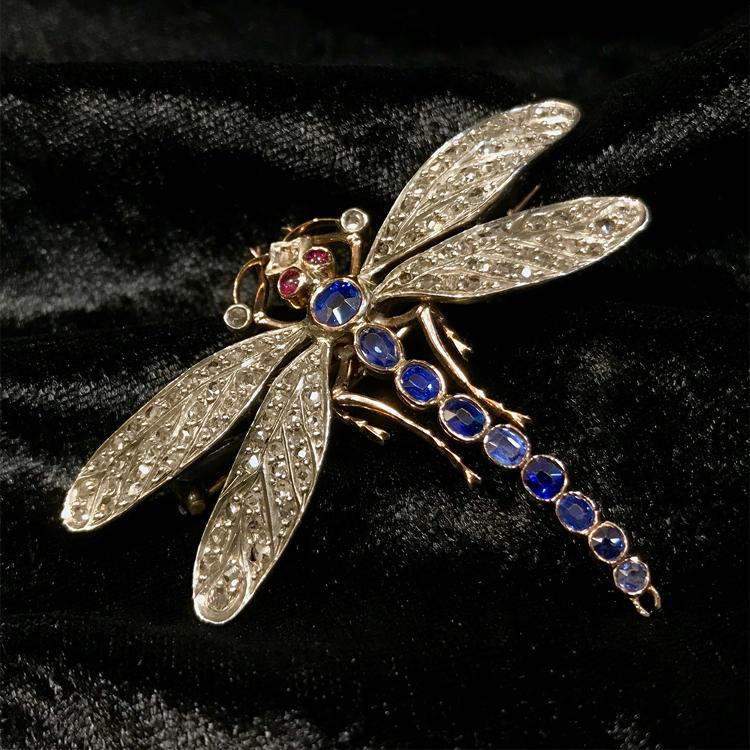維多利亞風格 藍寶石鑽石 胸針
