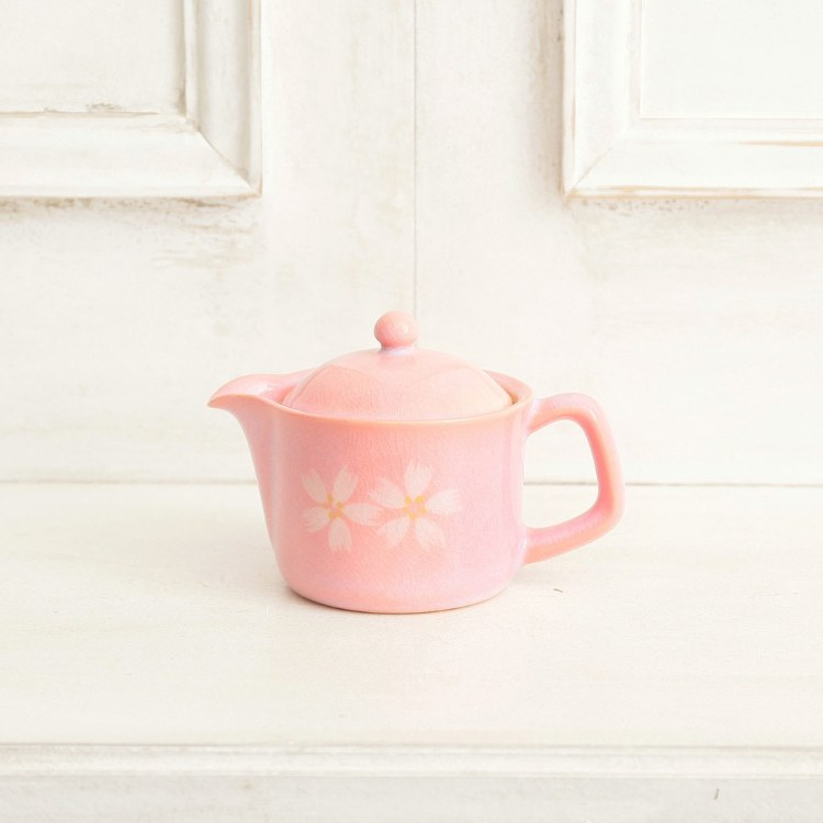 Hagi-yaki cherry blossoms with tea strainer pot